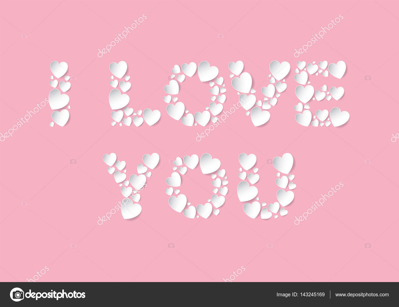 I Love You letters flat lay with white vector paper hearts on pink