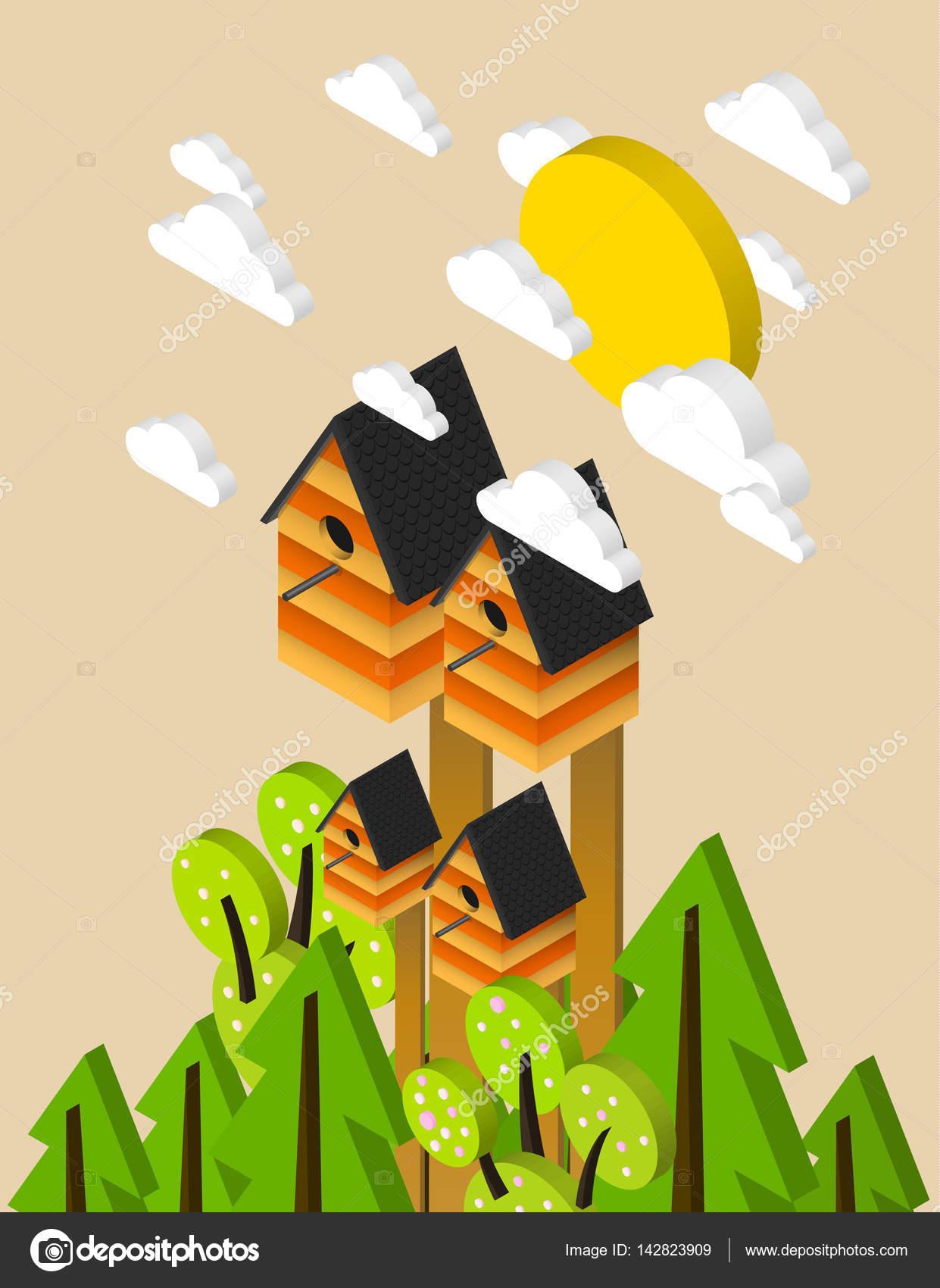 Nesting box, isometric illustration, fresh spring poster