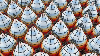 Abstract background with cones, 3D rendering, stretched pixels t