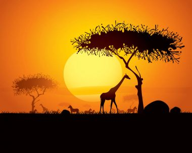 african flora and fauna silhouettes