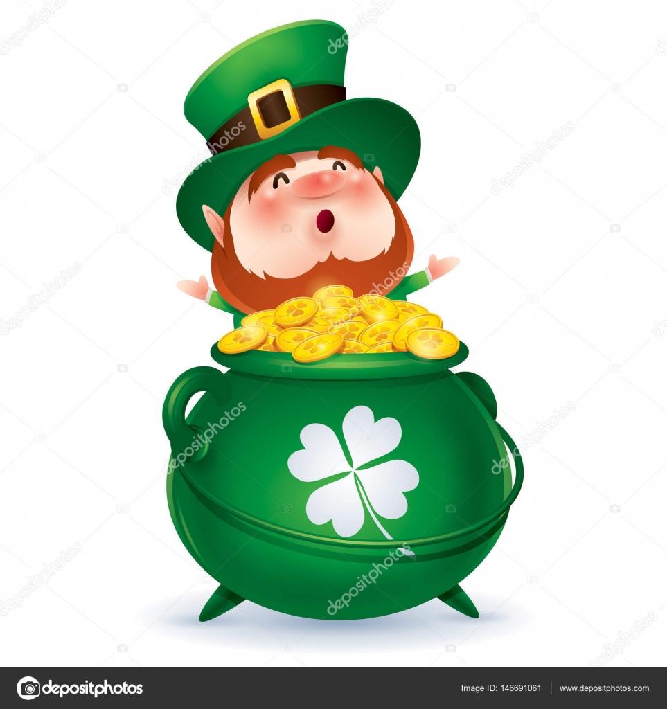 personagem de desenho animado de duende de chapéu verde cilindro