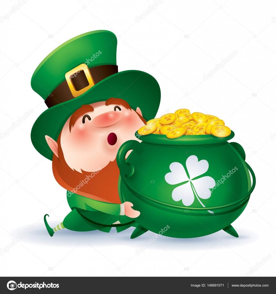 Carattere del leprechaun divertente in cappello cilindro verde che  abbraccia pot con le monete d oro del fumetto c1a2cbb2ee77