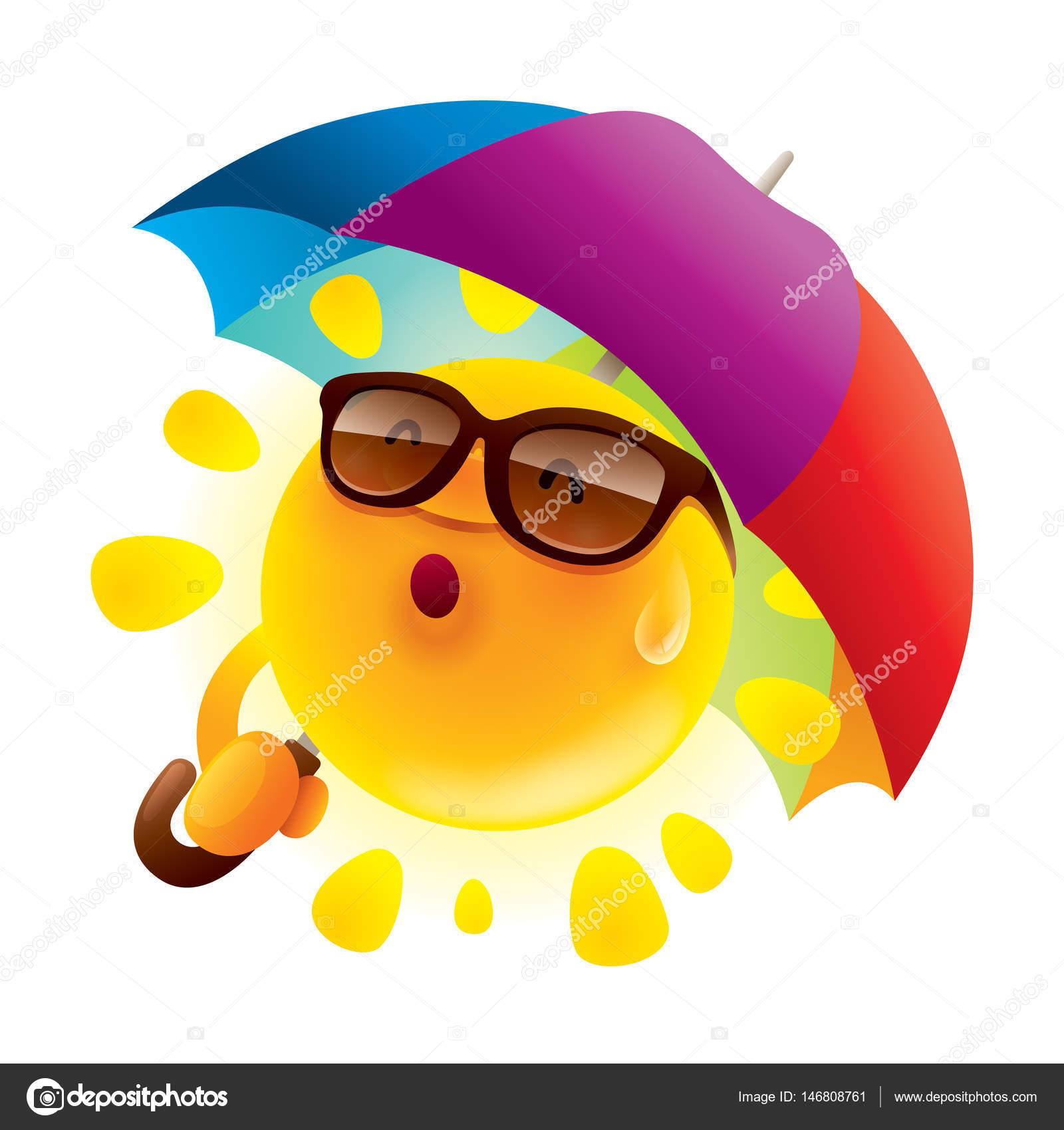 5f189102a3f21e Stripfiguur van zon in zonnebril met paraplu — Stockvector © ori ...