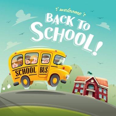 school bus with pupils near school