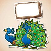 personaggi dei cartoni animati di bellissimi pavoni