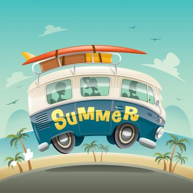 Bus with tourists and luggage on road, summer holidays concept clip art vector