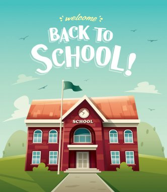 red school building with clock