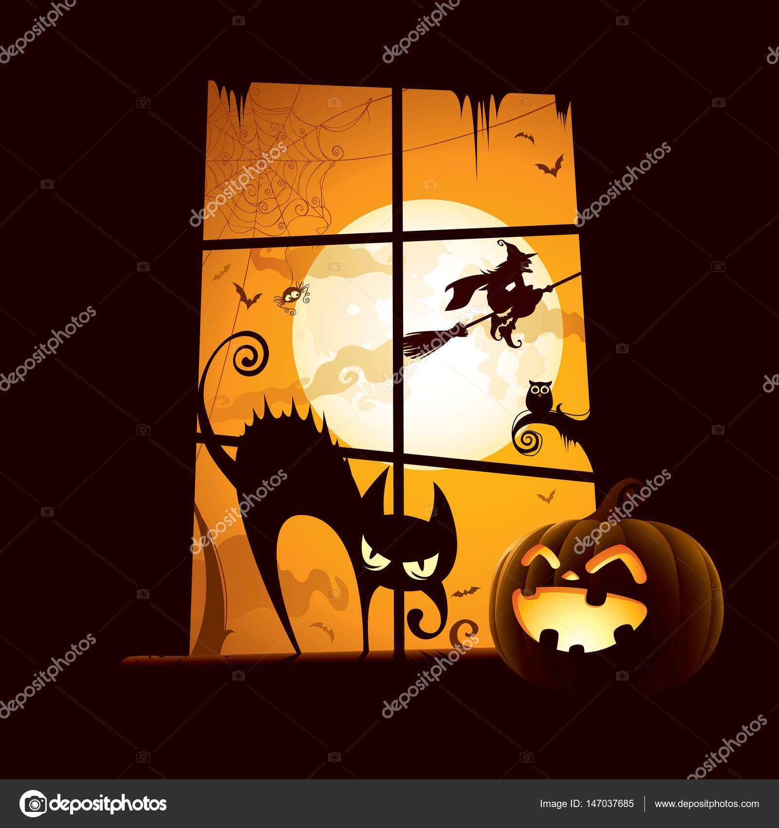 Einladungskarte Mit Kürbis Und Katze Auf Der Fensterbank U2014 Stockvektor  #147037685