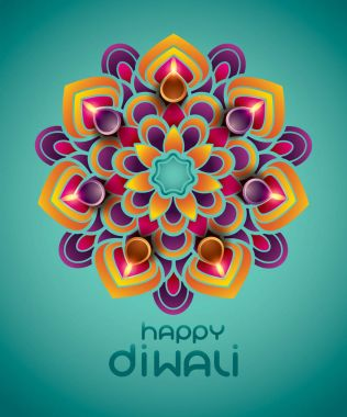 Indian rangoli - a traditional Indian art of decorating the entrance to a house stock vector