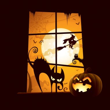 invitation card with pumpkin and cat on windowsill