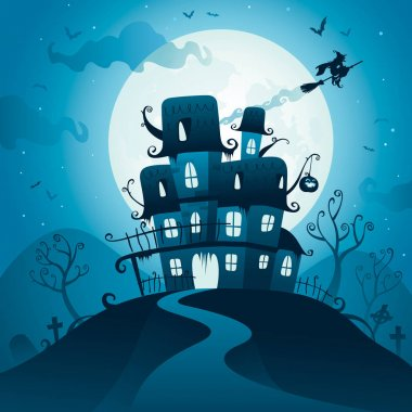 invitation card with haunted house