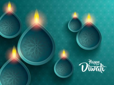 Happy diwali. traditional indian diya oil lamps. stock vector