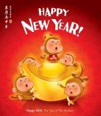 Fotografie Frohes neues Jahr! Das Jahr des Affen