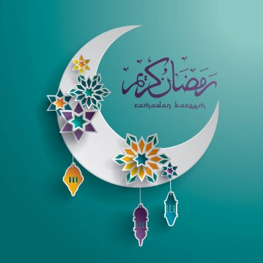 Ramadan background with moon and stars