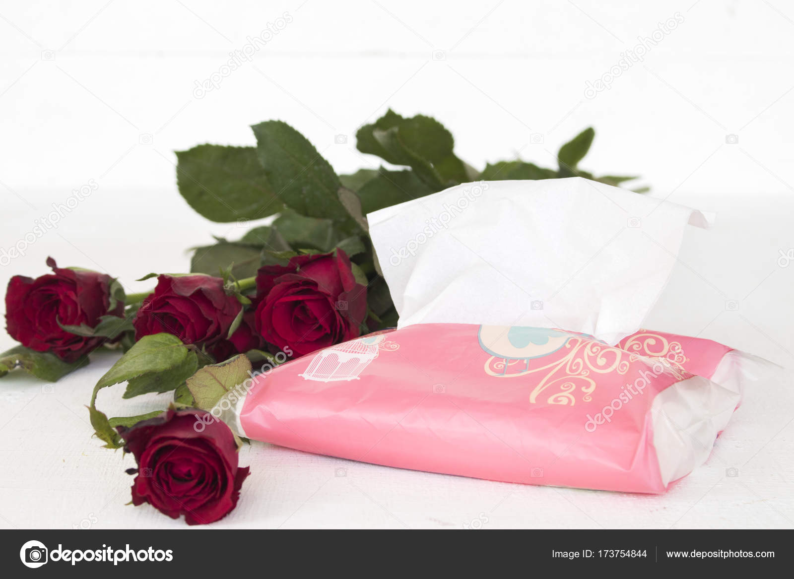 Bouquet Of Flower Red Rose With Paper Napkin Clean Of Lifestyle