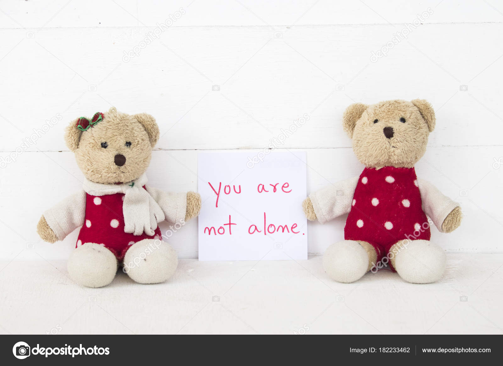 You Alone Message Card Couple Teddy Bear Background White