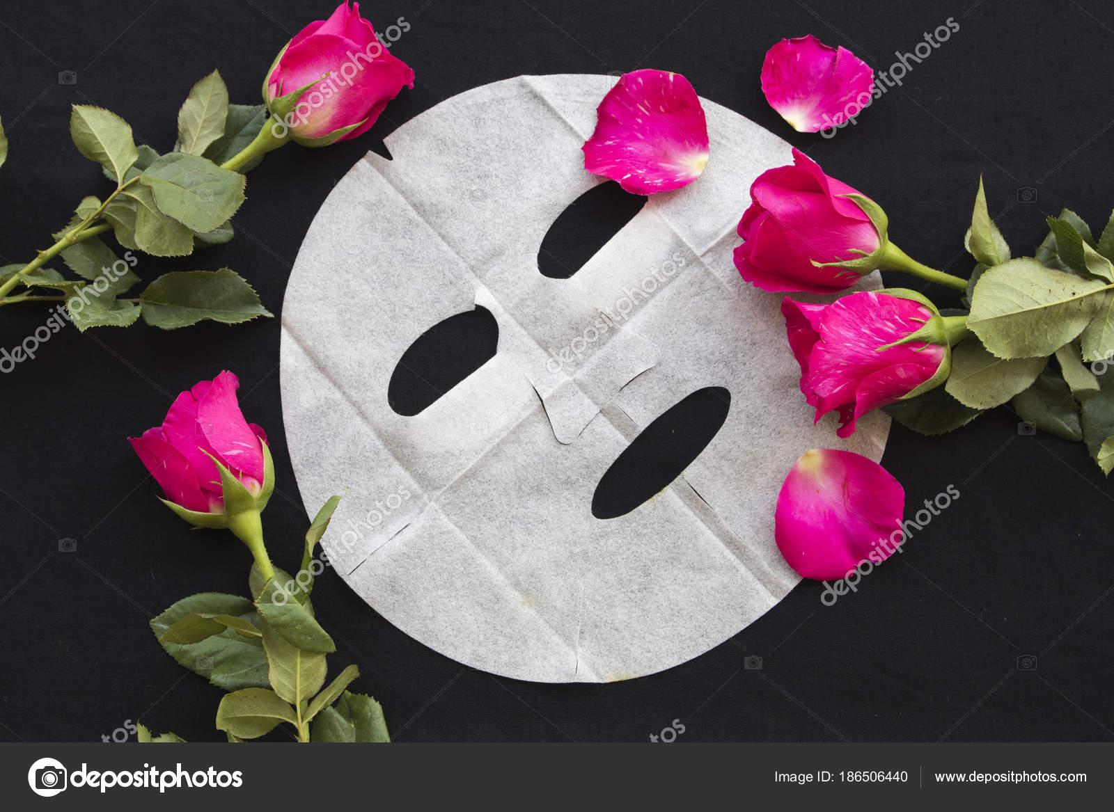 Masque Feuille Naturelle Pour Visage Peau Fleur Rose Sur Fond