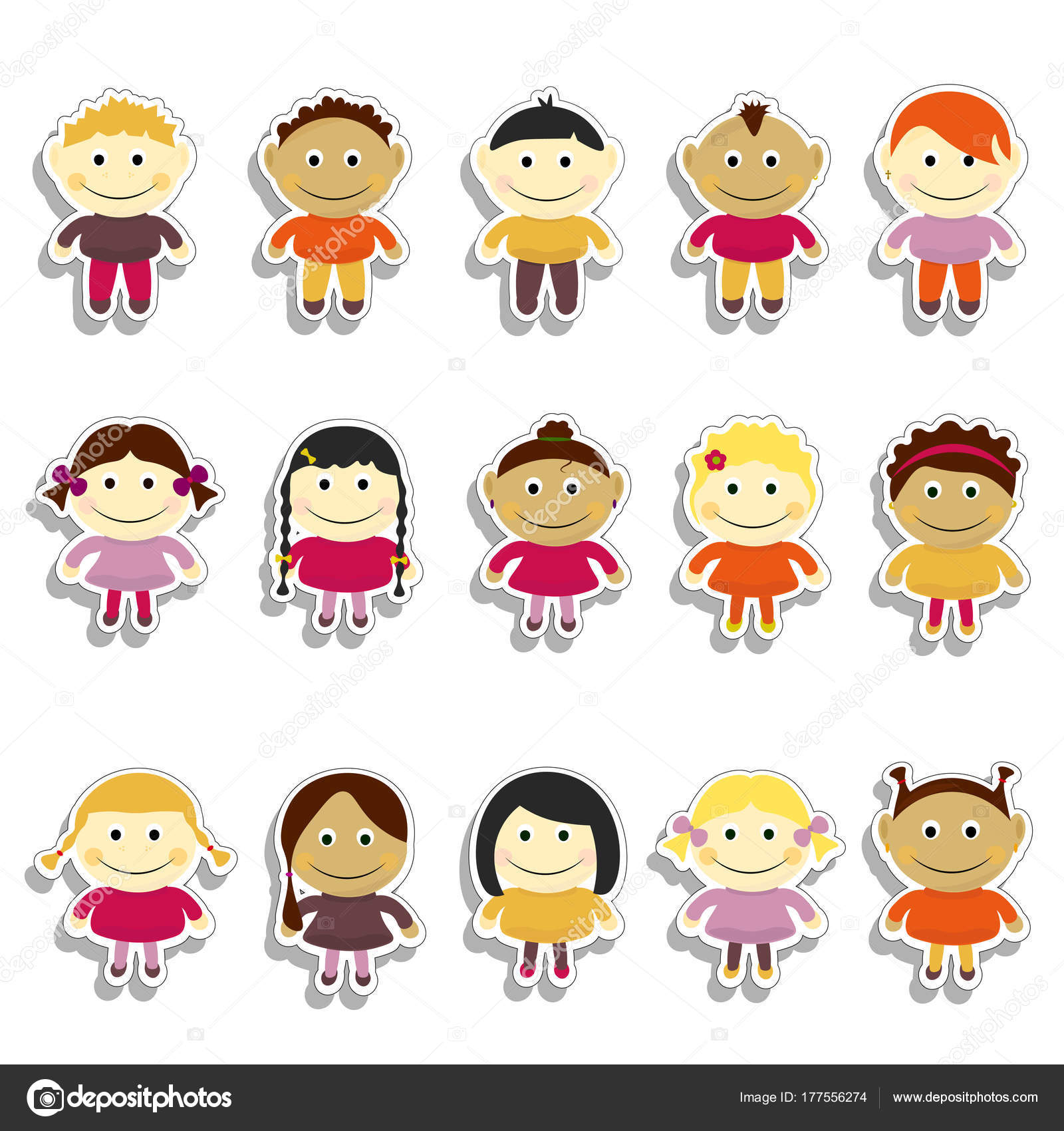 Sticker Enfants Set Vector Illustration Portraits De Emoji Avec