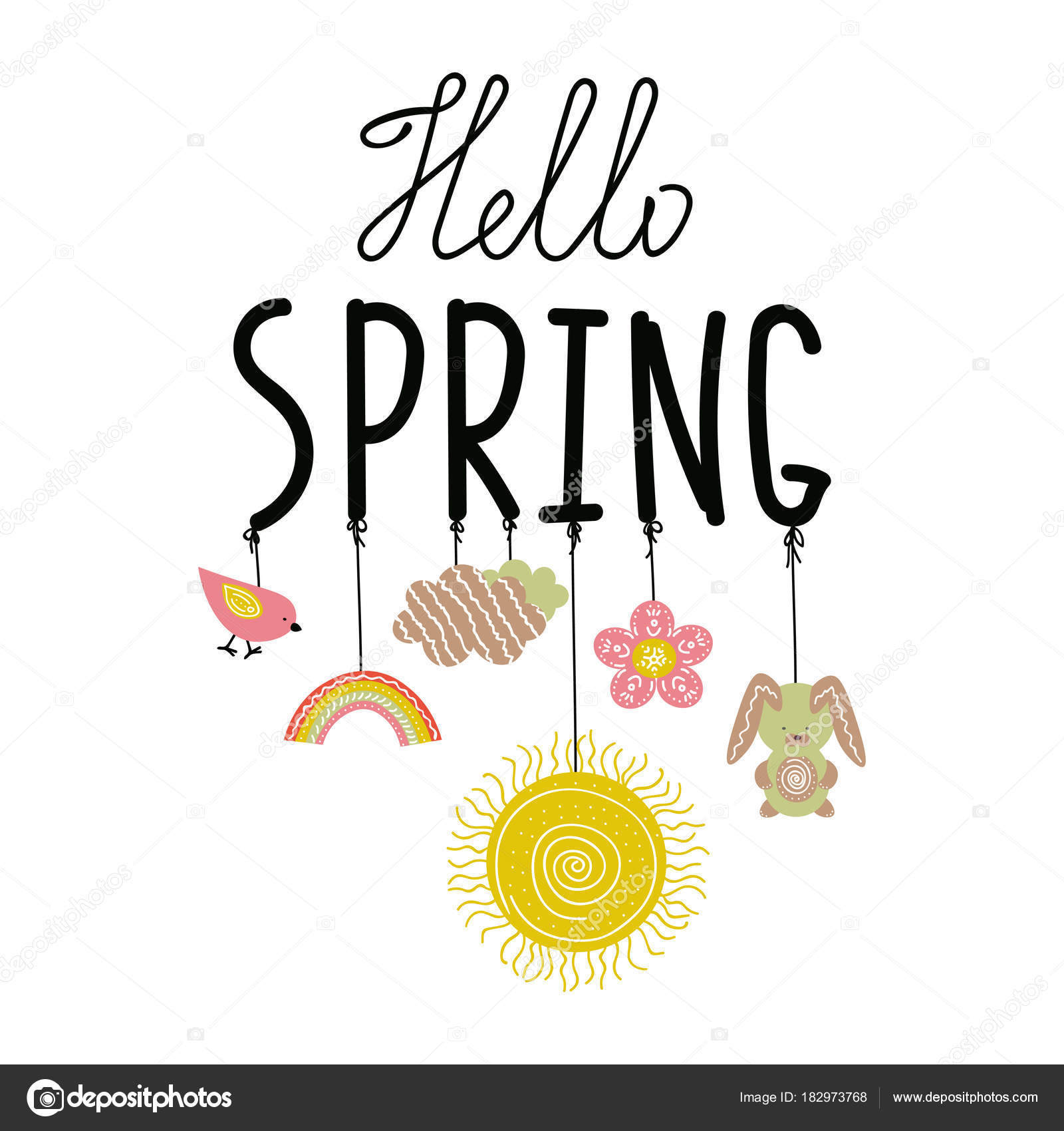 Hello spring handwritting phrase with ropes and doodle spring hello spring handwritting phrase with ropes and doodle spring symbols on it stock vector biocorpaavc