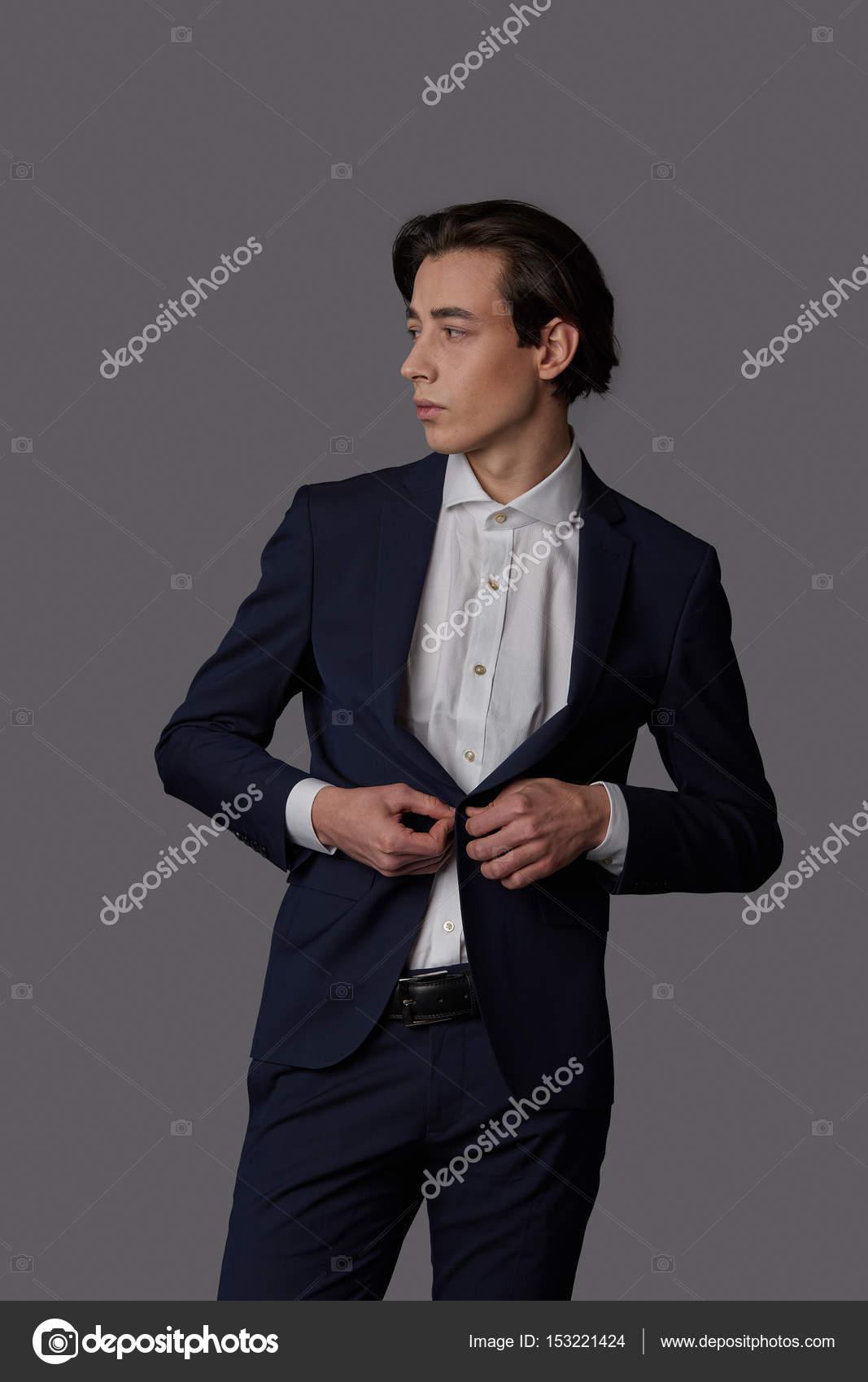 Pak Wit — Zakenman Mode Stockfoto Dragen Met Overhemd Blauwe yvn0OPmN8w