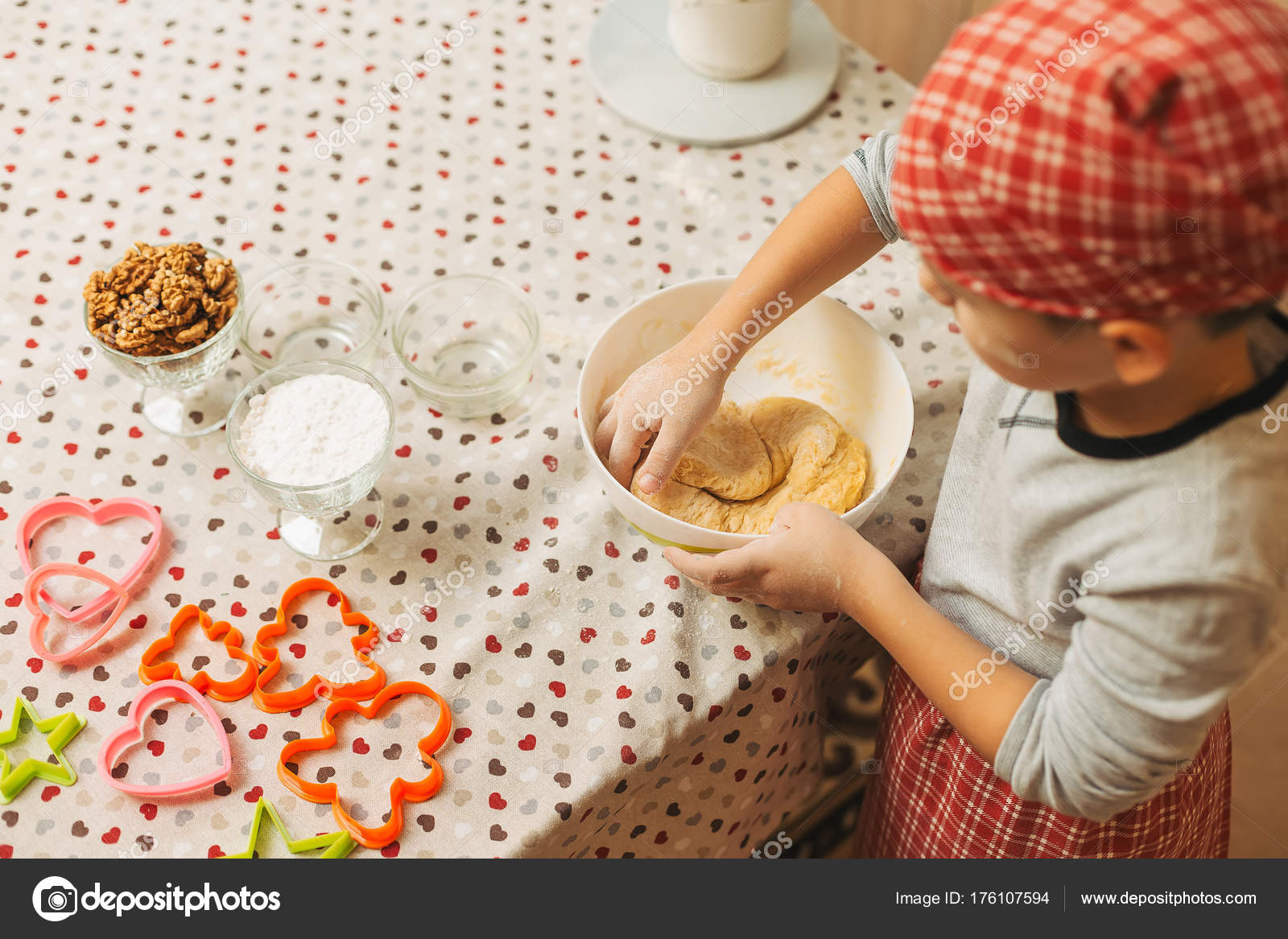 Kid mixing dough with hands for Christmas cookies. — Stock Photo ...