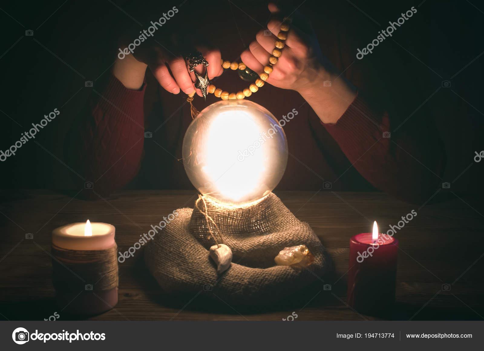 Crystal Ball Fortune Teller Hands Divination Concept