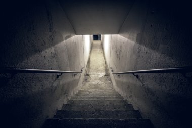 Staircase in the tunnel at night