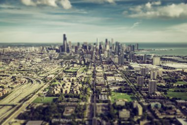 Chicago Downtown aerial view with Tilt Shift effect