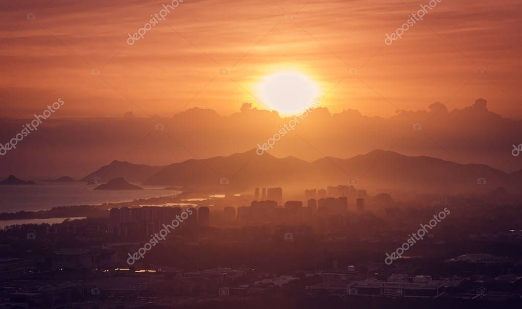 Scenic Sunset over Barra da Tijuca city, Rio de Janeiro