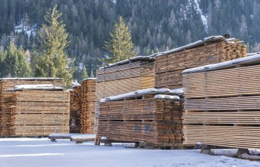 Drying timber boards at the sawmill in winter Alp Mountains