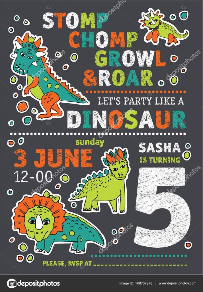 Vector Invitacion Cumpleaños Dinosaurio Invitación