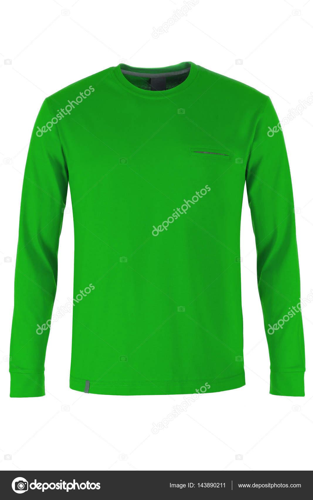 657d9d680ddcfe Grüne Langarm T-shirt auf weißen Hintergrund isoliert — Foto von ...