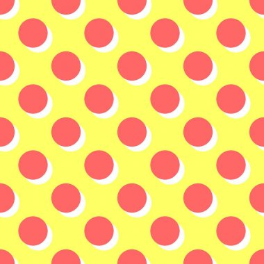 Tile vector pattern with pink polka dots and orange shadow on yellow background