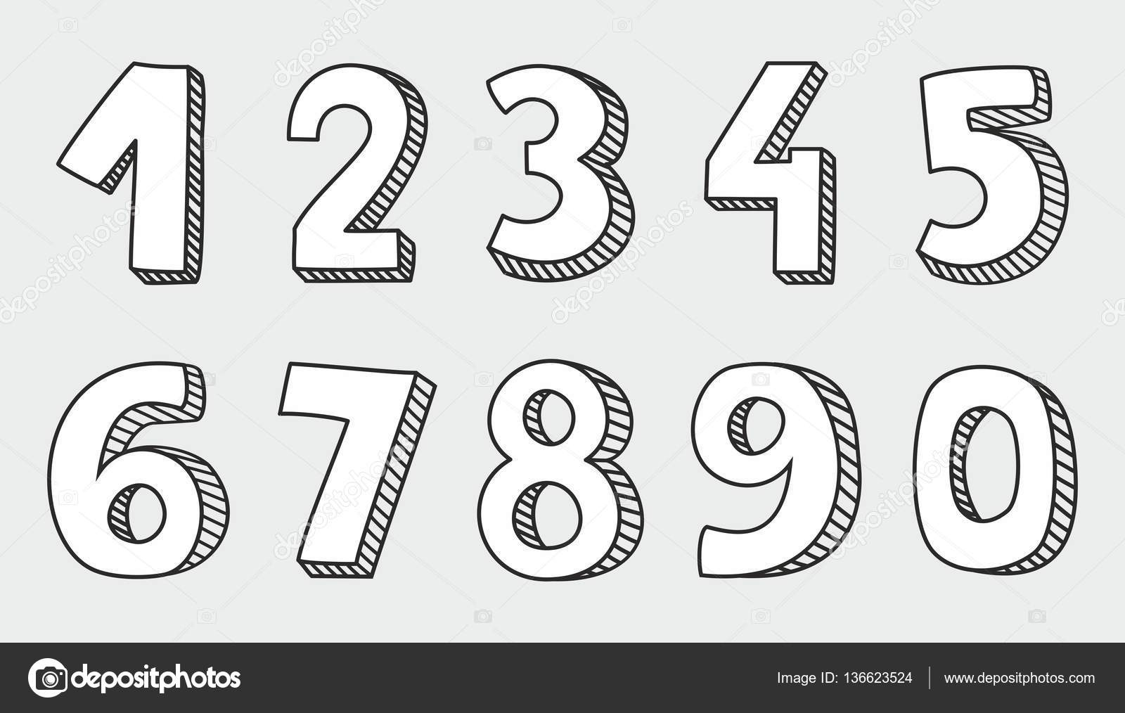 Hand Drawn White Vector Numbers Isolated On Grey Background Stock