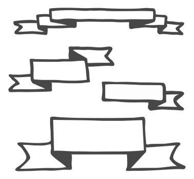 Hand drawn bullet journal headers or banner vector illustration set