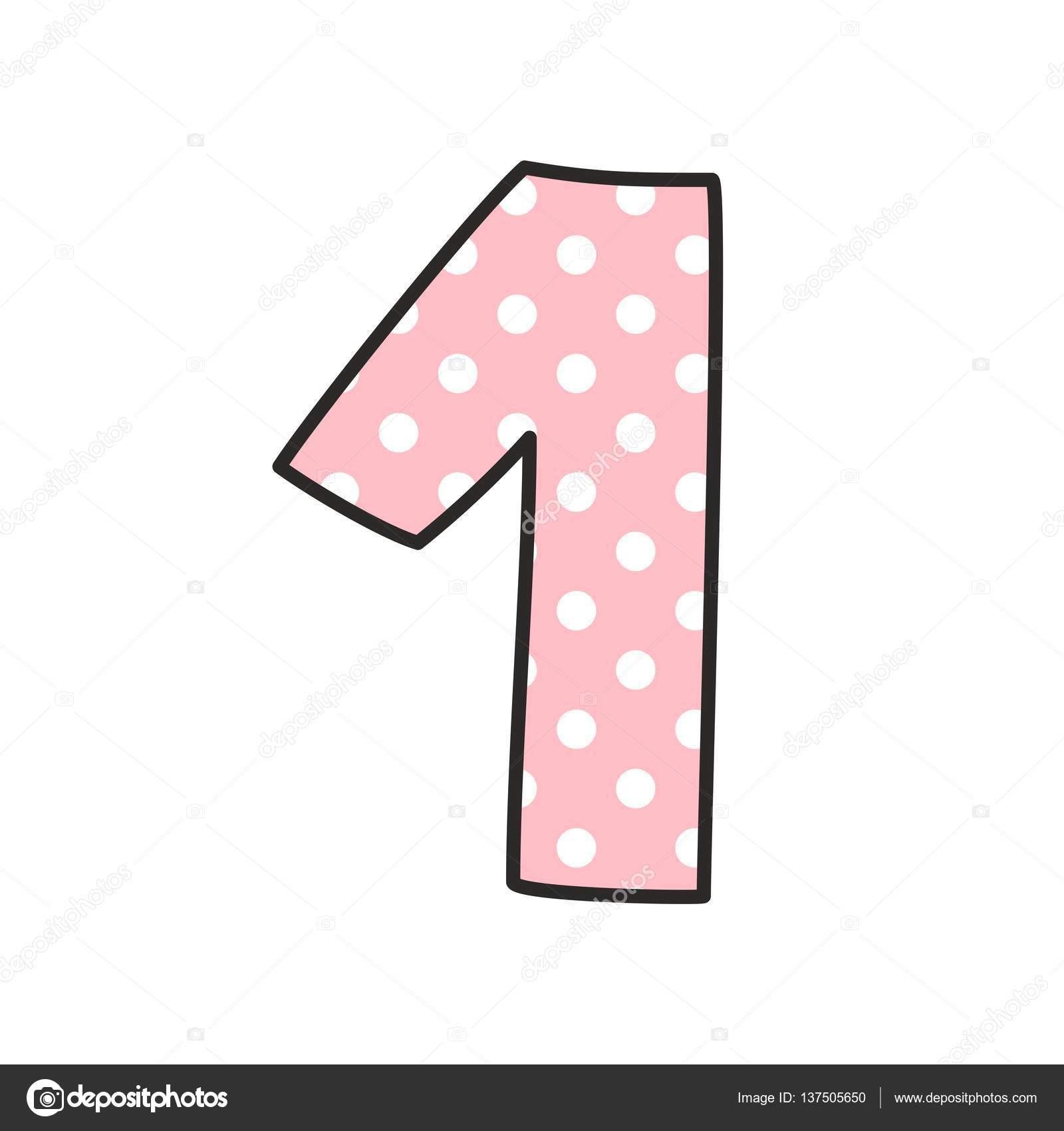 número 1 com bolinhas brancas na rosa ilustração vetorial isolada