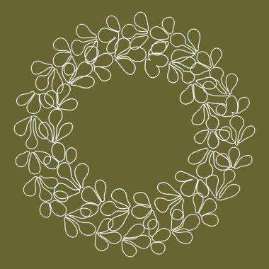 Laurel wreath floral decorative vector frame on green background