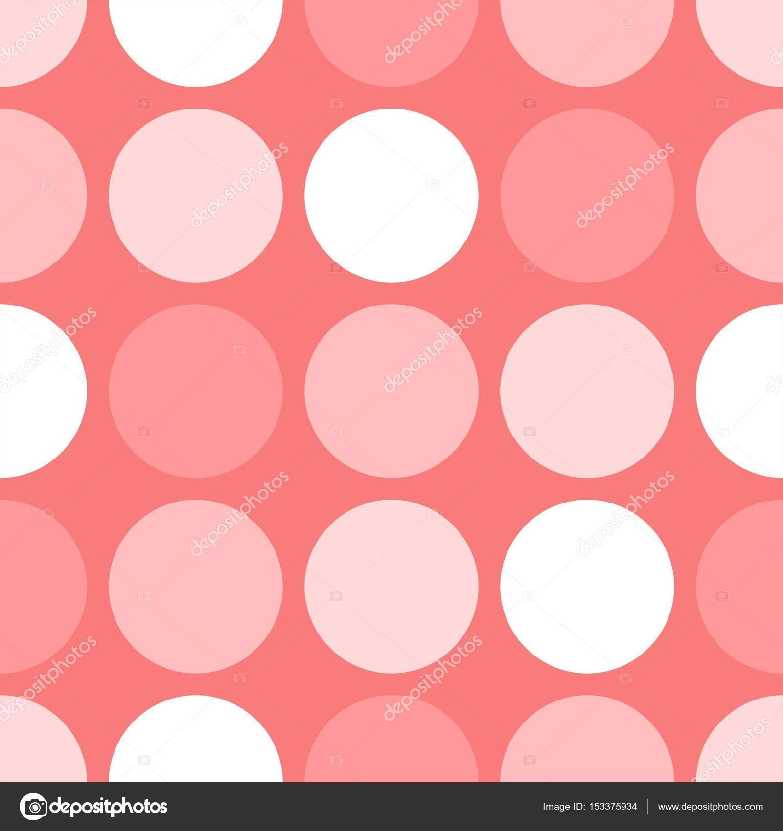 Azulejos Patron Vector Con Lunares Blancos Y Rosas Sobre Fondo Rosa - Azulejos-rosas