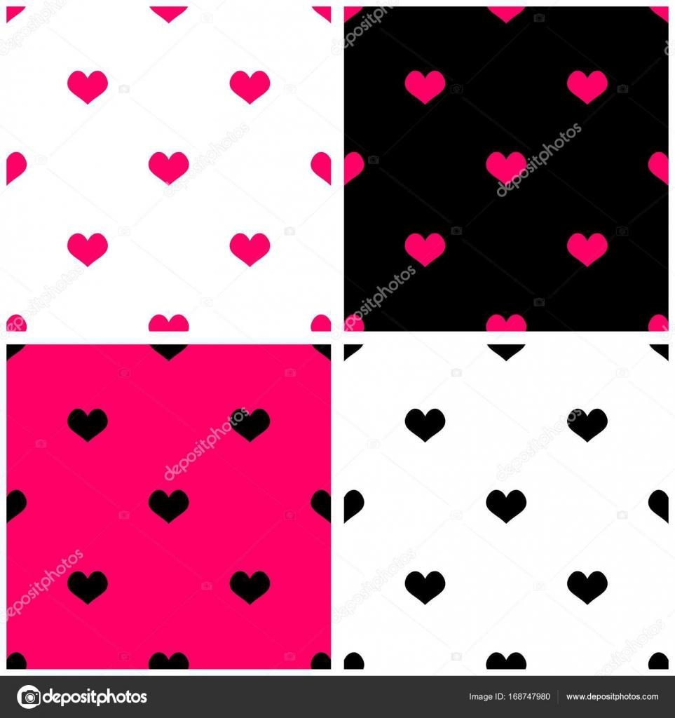 Fliesenmuster vektor setzen auf schwarz wei und pastell rosa hintergrund mit herz - Fliesenmuster schwarz weiay ...