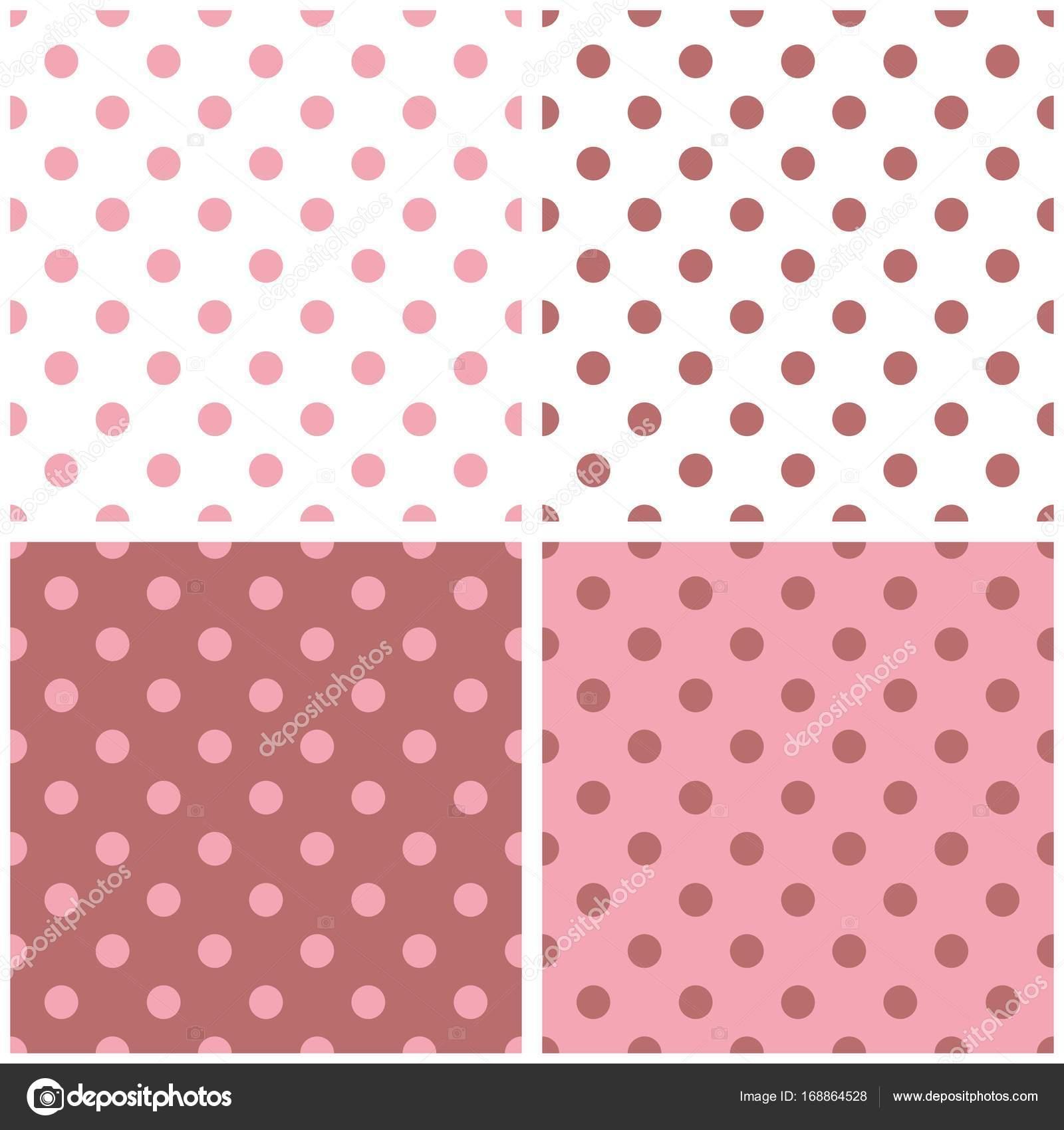 Fliesen Sie Weiß, Rosa Und Braun Vektor Muster Set Mit Polka Dots