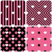 Csempe vektor minta szív rózsaszín és fekete háttér