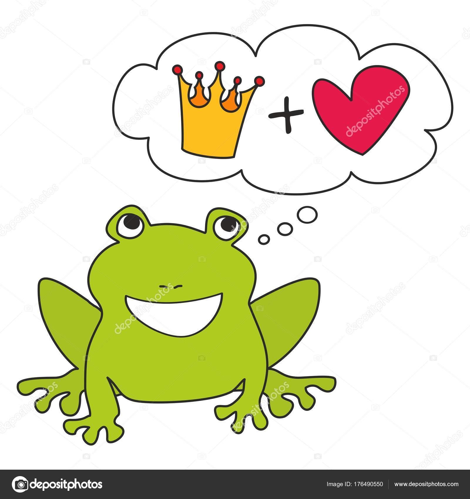 Grenouille Couronne prince princesse grenouille verte rêver couronne amour illustration