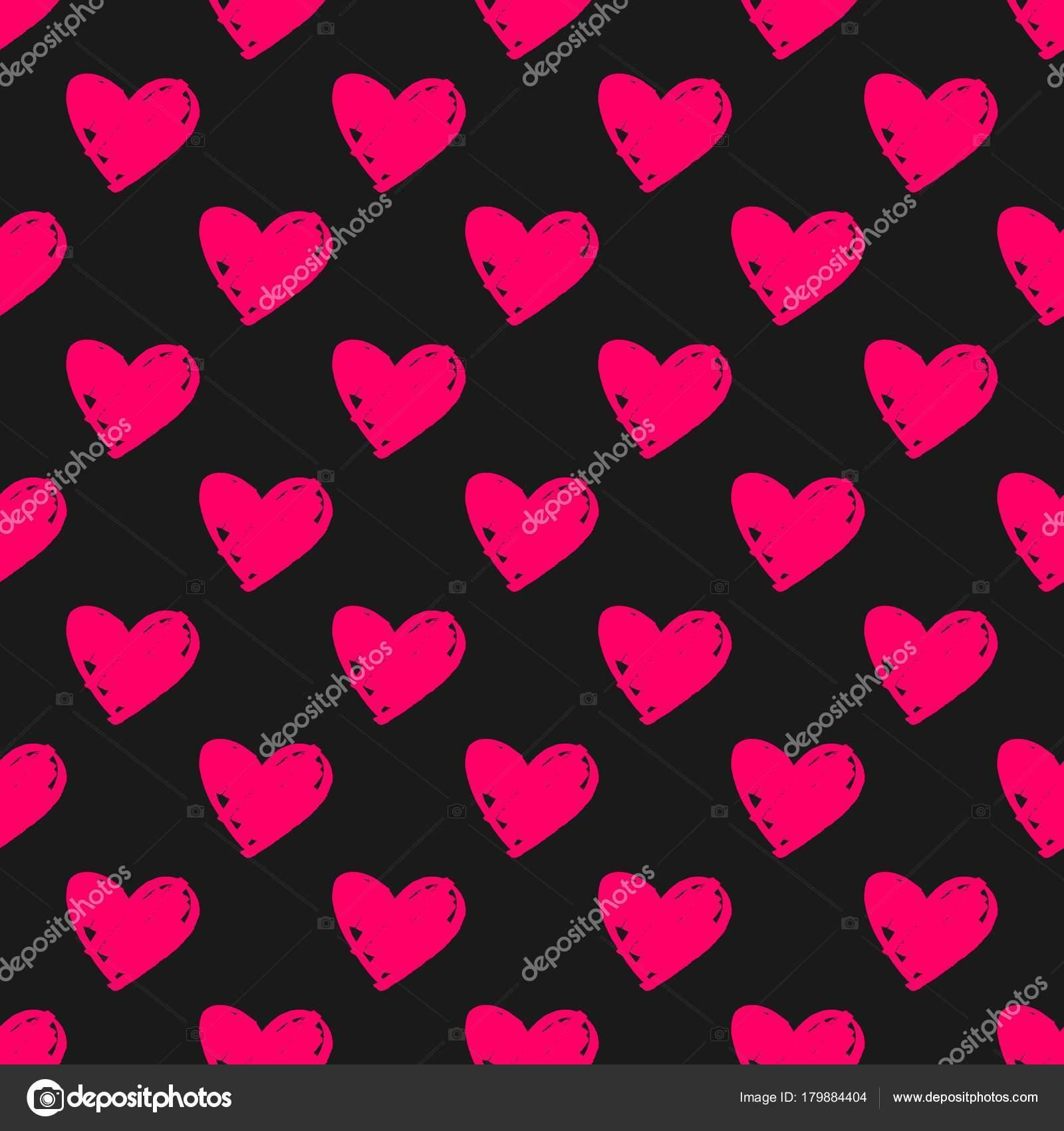 Tile Vector Pattern Pink Hearts Black Background Seamless