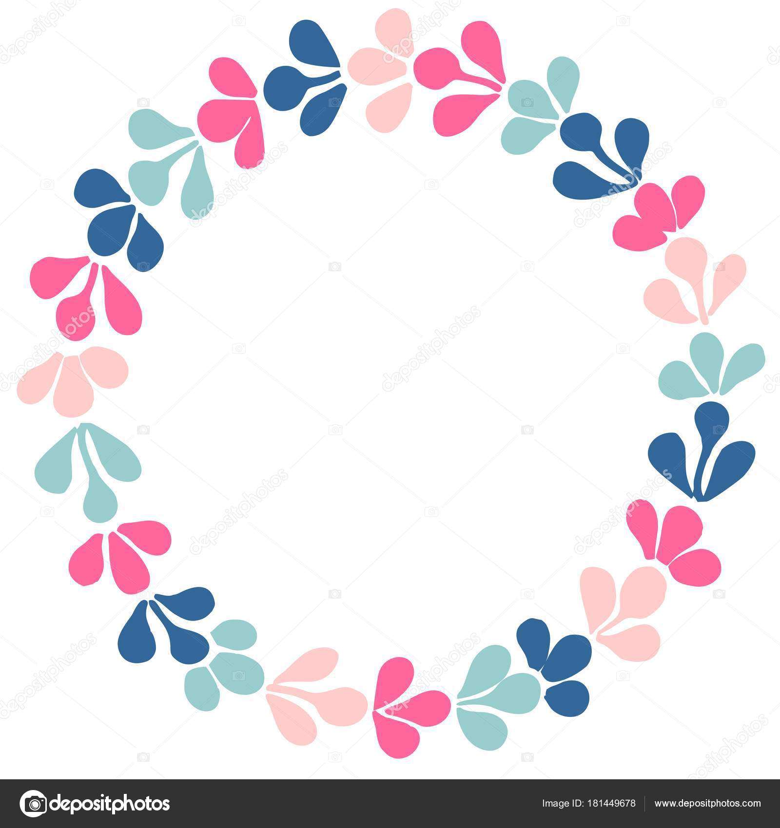 Pastel Laurel Wreath Vector Frame White Background — Stock Vector ...