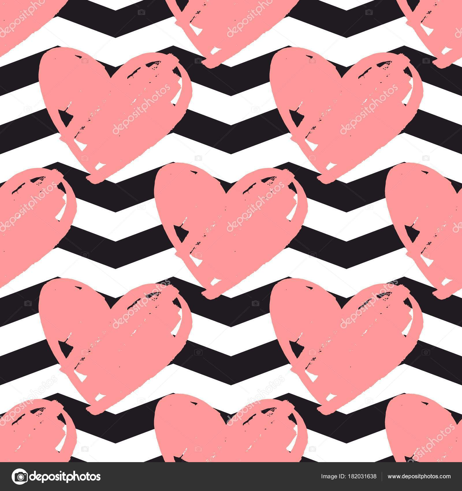 Tile Vector Pattern Pink Hearts Black White Chevron Background