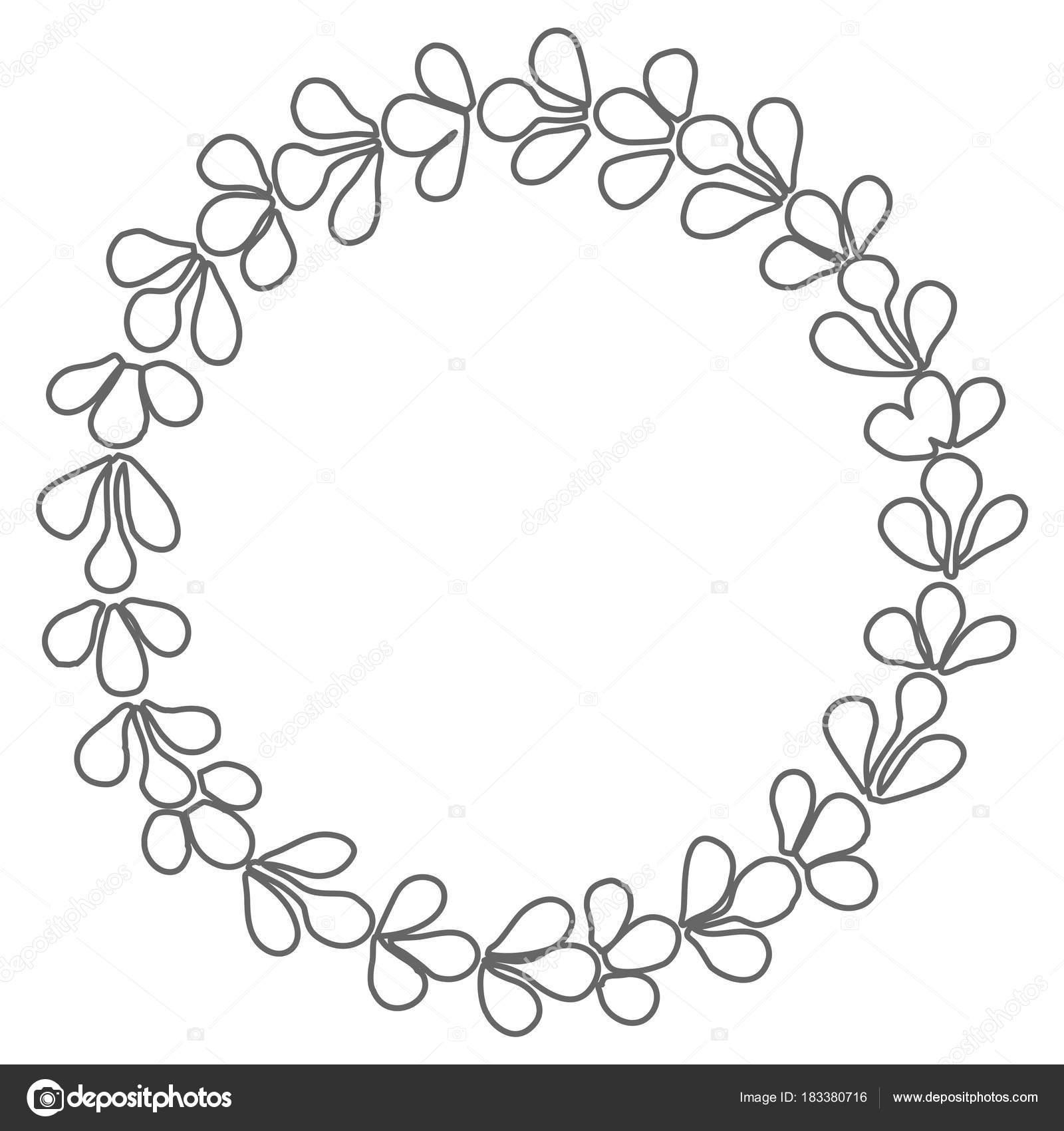 Schwarz Weiß Lorbeer Kranz Vektor Rahmen — Stockvektor © mala-ma ...