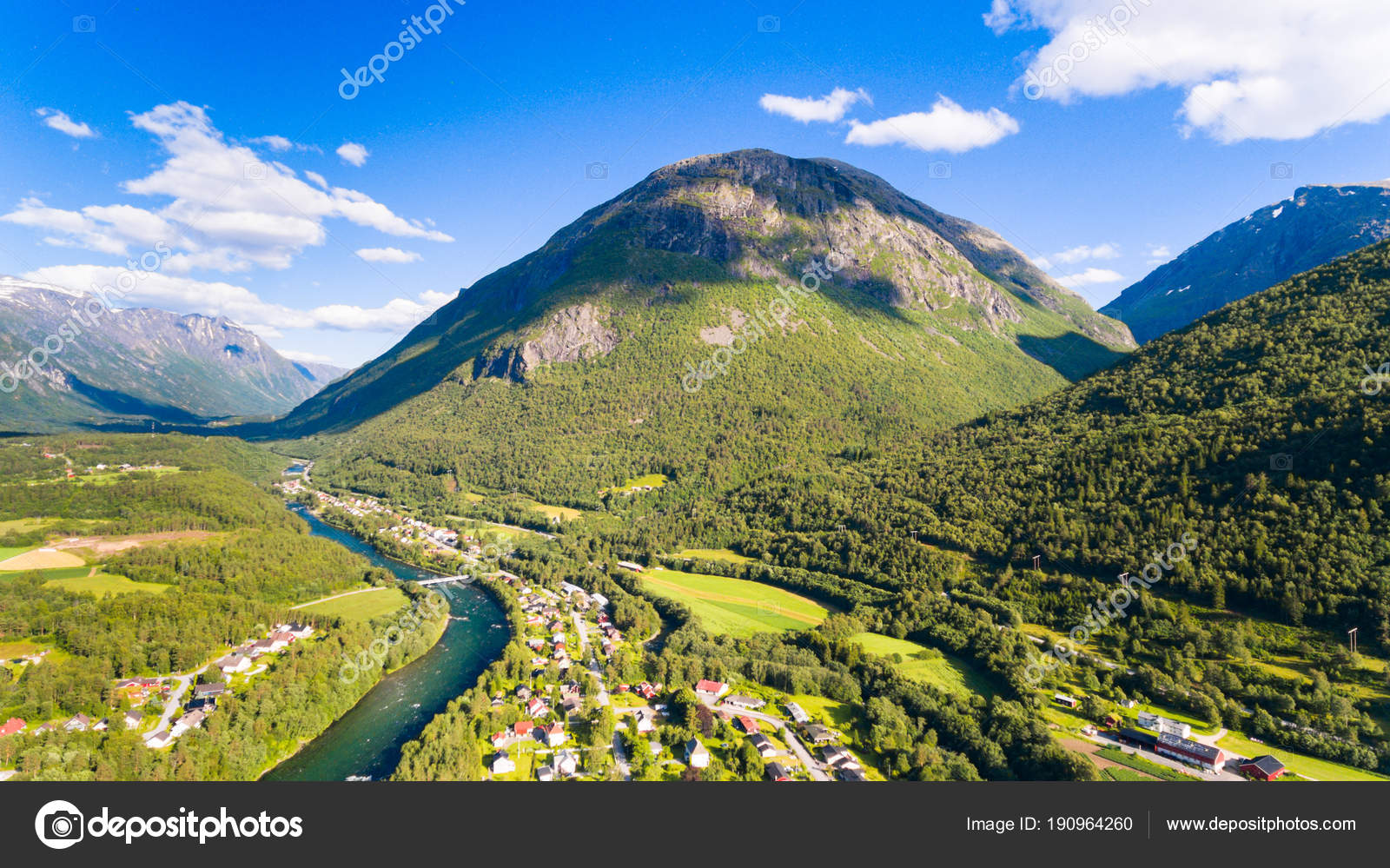 Country Town River Mountains Natural Landscape Aerial Drone Photography Norway Stock Photo
