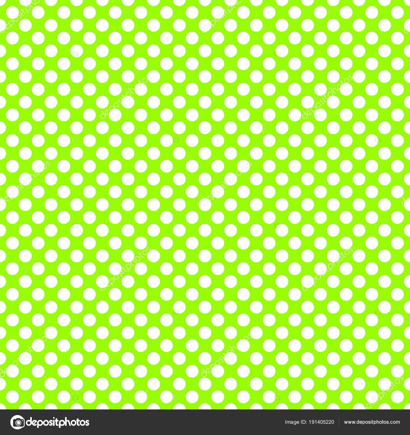 Reticolo Vettore Delle Mattonelle Con Pois Bianchi Sfondo Verde Neon