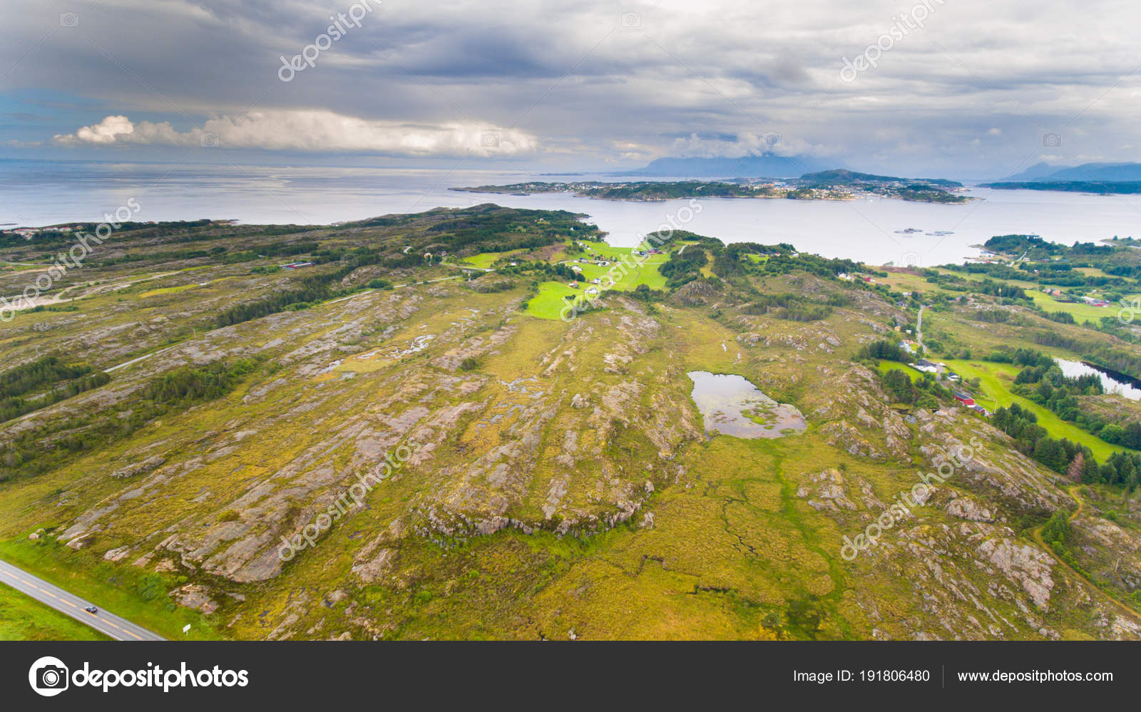 Norway Coast Landscape Island Aerial Drone View Stock Photo