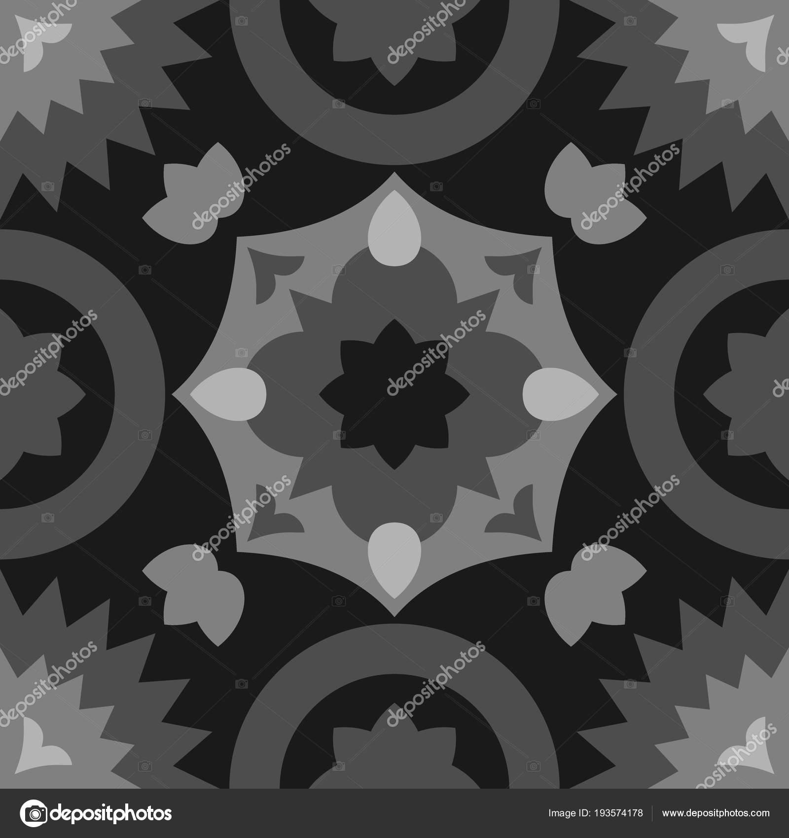 Czarne Płytki Dekoracyjne Posadzki Wektor Wzór Lub Bezszwowe